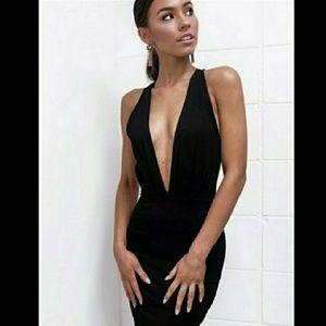 Sexy Deep V-Neck Black Dress
